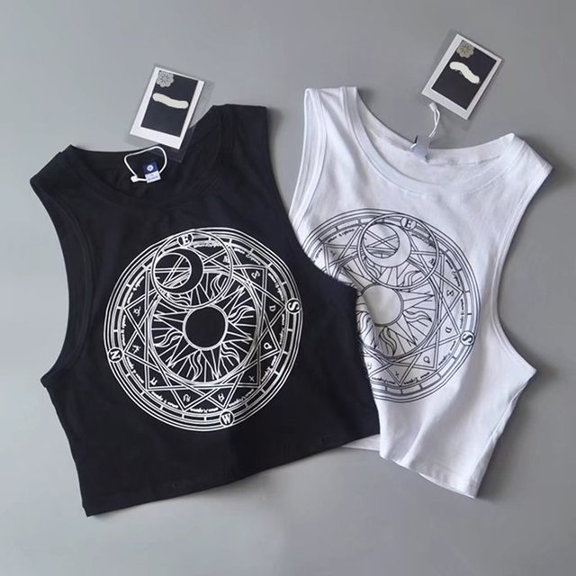 Summer 2019 New Tank Top Women Harajuku White Hot Fashion Sun Moon Print Gothic Sexy Crop Tops Black Casual Streetwear Tanks Top