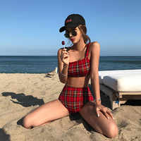 High Waist Swimwear Bikini Women Push Up Swimsuit Female Bandage Bathing Suits 2019 Beach Plaid Cover Belly Two Pieces Swimsuits