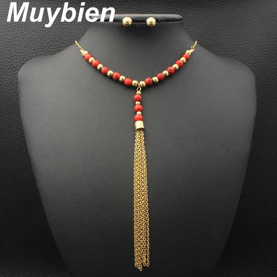 Muybien New design Simple Stainless Steel gold color  Necklace and Earrings Jewelry sets For Women SEUJAHBE