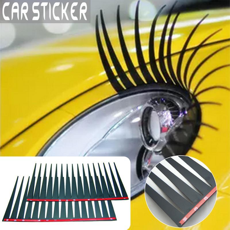 Adesivo 3d de cílios para carro, 2 peças, etiqueta pc material de cílios postiços, adesivo para olhos elétricos
