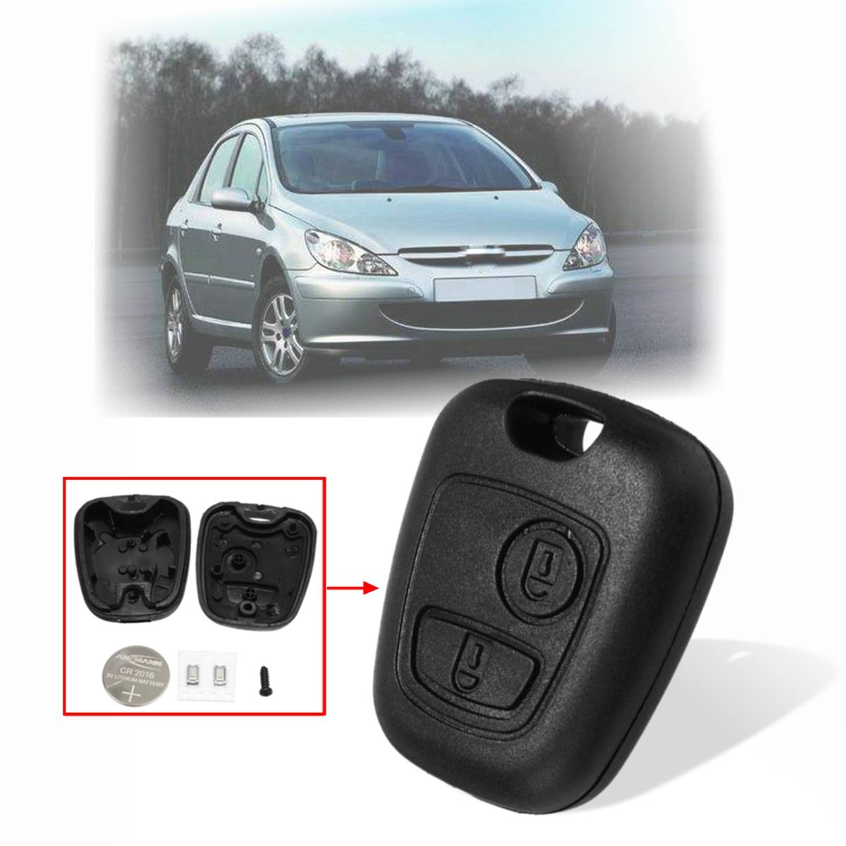 2 Buttons Car <font><b>Remote</b></font> <font><b>Key</b></font> Fob Case For <font><b>Peugeot</b></font> 106 107 206 <font><b>207</b></font> 306 307 405 406 407 Shell with <font><b>Battery</b></font> Replacement Kit image