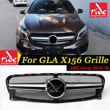 X156 Front Grille ABS Silver For Mercedes Benz GLA-Class X156 GLA180 GLA200 250 without central logo Front Racing Grille 2014-16 for mercedes benz gla x156 front grille silver abs gla45 amg gla180 gla200 gla250 without central logo front racing grille 14 16