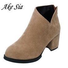 Лидер продаж года; сезон осень-зима; женские ботинки; женская кожаная обувь на толстом каблуке с боковой молнией; винтажные Модные ботильоны; женская обувь