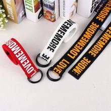 Korea Style Letter Print Belt Fashion Double D Ring Canvas Jeans Belts For Women Men Harajuku