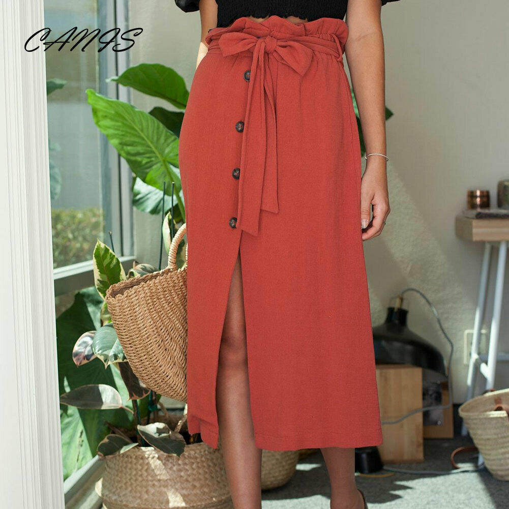 Fashion Casual Summer Womens Midi Skirt High Waist Front Slit Skirts Pleated Beachwear Long Loose Button Bandage Party Skirts