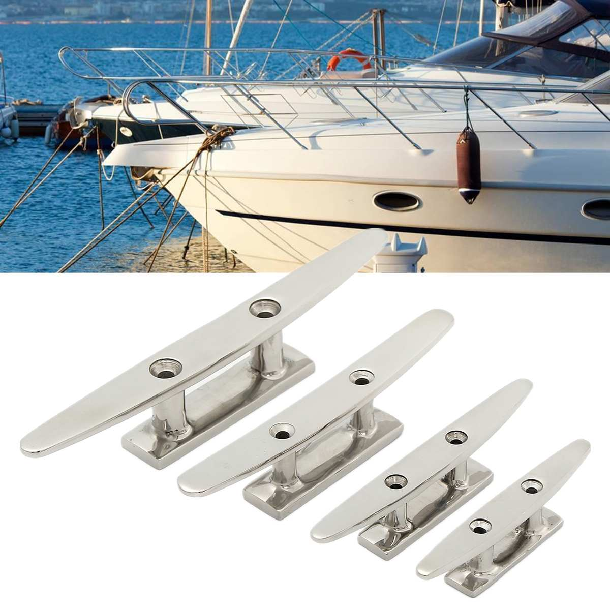 "Low Flat Cleat 316 Stainless Steel 2 Hole Hardware For Marine Boat Deck Rope Tie 4"" 5"" 6"" 8"" for All Chandlery Applications(China)"