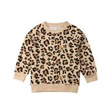 Детский топ с леопардовым принтом кролика для маленьких девочек и мальчиков, футболка, свитшоты повседневный топ с длинными рукавами для малышей, одежда зима-весна От 1 до 7 лет