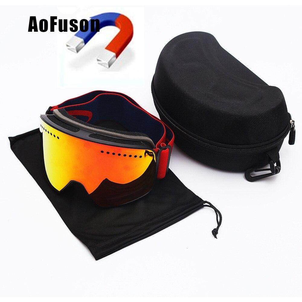 Magnetic Ski Goggles With Case Anti-fog Double Lens UV400 Professional Ski Glasses Men Women Skiing Snowboard Goggles