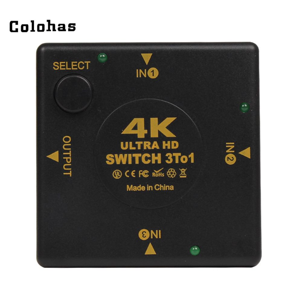 HDMI Selected Switcher 3 Input To 1 Output Ports Square Splitter 4K*2K Ultra HD 3D Black For HDTV PS3 Projector Blu-ray Player