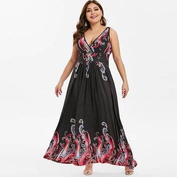 b6534ab7aaa Product Offer. Rosegal плюс размеры V образным вырезом Племенной печати  облегающее Макси платье богемный ...