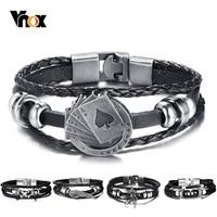 Vnox Lucky Vintage Men's Leather Bracelet Playing Cards Raja Vegas Charm Multilayer Braided Women Pulseira Masculina 7.87