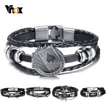 "Vnox Lucky Vintage Men's Leather Bracelet Playing Cards Raja Vegas Charm Multilayer Braided Women Pulseira Masculina 7.87""(China)"