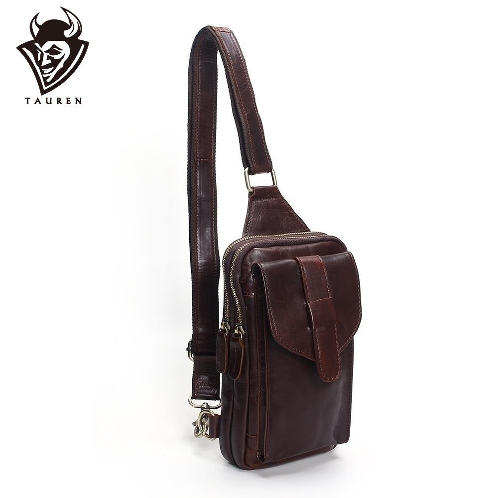 Sac de poitrine 2019 mode en cuir véritable sacs à bandoulière hommes décontracté Messenger sac petite marque Designer homme sac à bandoulière