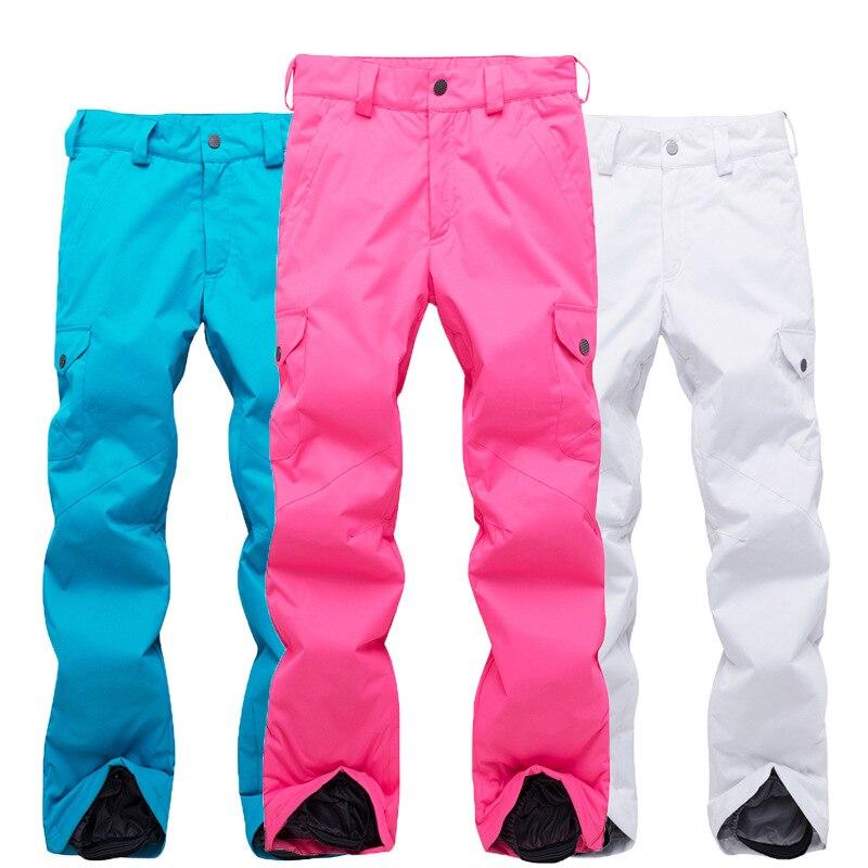 Nouveau pantalon de ski femmes hiver en plein air imperméable à l'eau épais chaud froid placage double panneau professionnel dames pantalon de neige