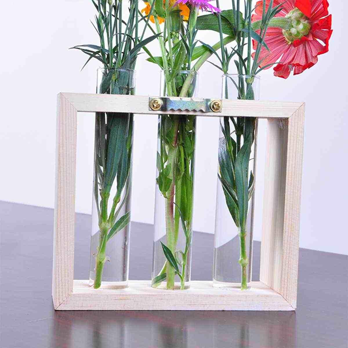الجدول جدار زجاج معلق أنبوب مياه زهرية بونساي تتفتح وعاء النبات حامل خشبي زهرة زجاجة الحاويات مصنع الزراعة المائية أنابيب