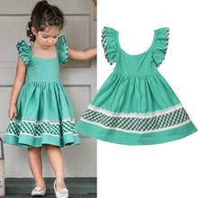 ec9aea674b19e Princesse fille robe verte enfant en bas âge enfant bébé fille à volants  mouche manches bal fête décontracté robe courte enfants.