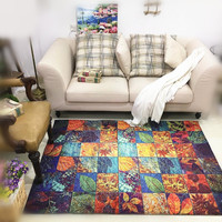 Large size Carpet Retro Plants Abstract Art Wild Parlor Mat Bedside Rug Resistant Filbert Customzable 3D Carpet for Living Room