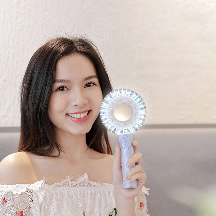 Portable Mini Hand-held Fan With Fill Light Low Noise Desktop USB Rechargeable Fan Multi-angle Adjustment Makeup Mirror Fan #3