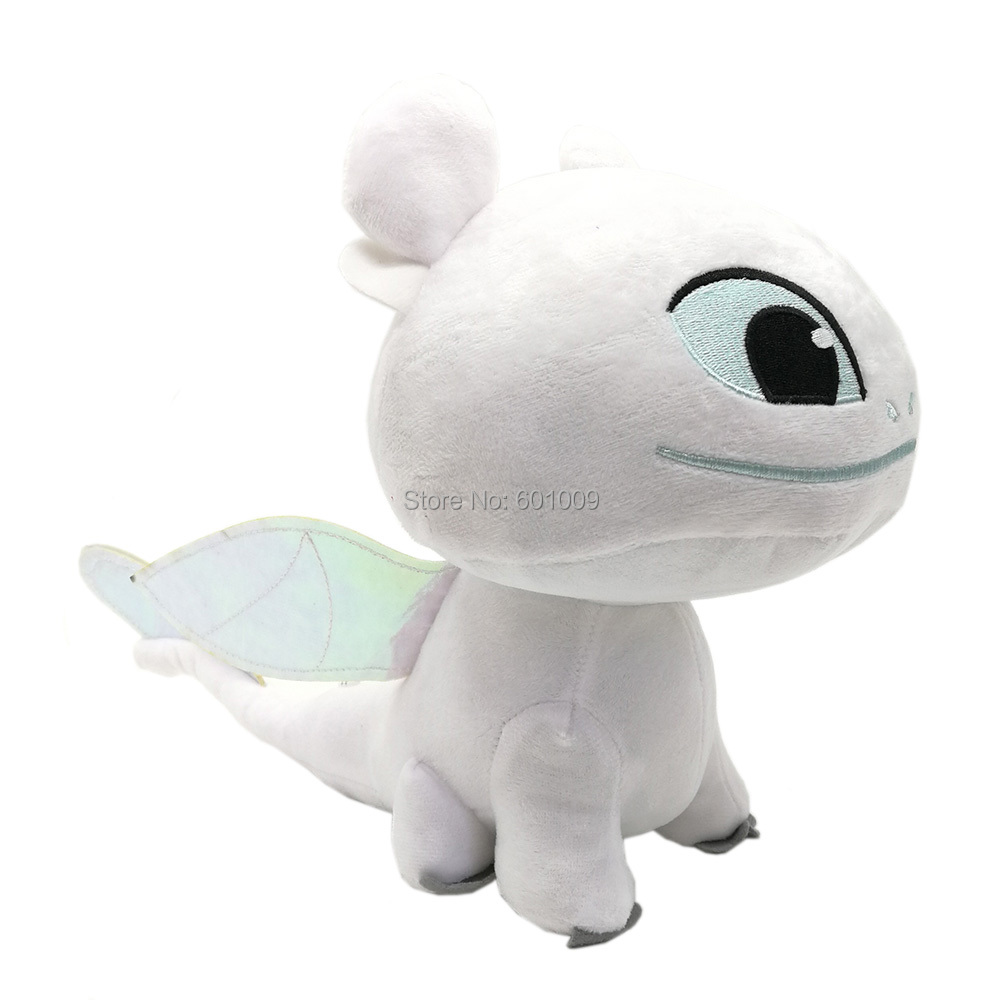 Free Shipping EMS 20 Lot Light Fury Toothless s 35 5CM Girlfriend White Dragon Plush Doll