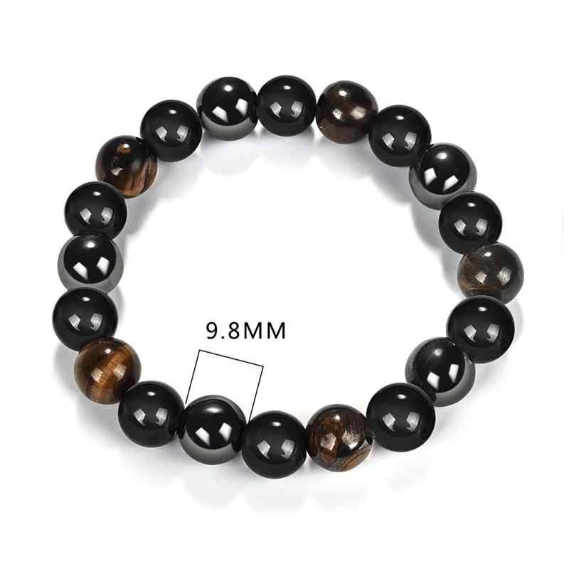Jiayiqi אופנה נמר עין אבן צמידי צמידים טבעי אבנים חרוז צמיד לנשים גברים תכשיטי מתנה 18.5mm