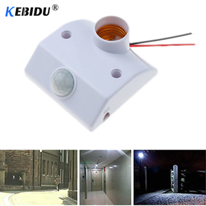 Image 1 - Kebidu אוטומטי גוף אדם אינפרא אדום IR חיישן LED הנורה אור E27 בסיס PIR תנועת גלאי קיר מנורת בעל שקע AC 110V 220V