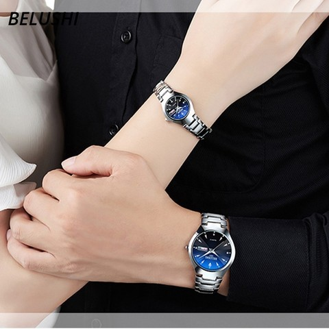 Lovers Watches Luxury Quartz Wrist Watch for Men and Women Belushi Dual Calender Week Steel Couple Watches Relogios Masculino Lahore