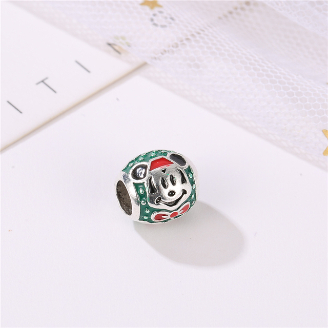 Fashion green beads Alloy ladies jewelry accessories Mickey drop oil beads for jewelry making women accessories wholesale AH042 1
