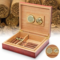 YKPuii 20 Count Brown Cedar Wood Lined Cigar Humidor Humidifier With Hygrometer Case Box with Moisture Meter Moisturizing Device