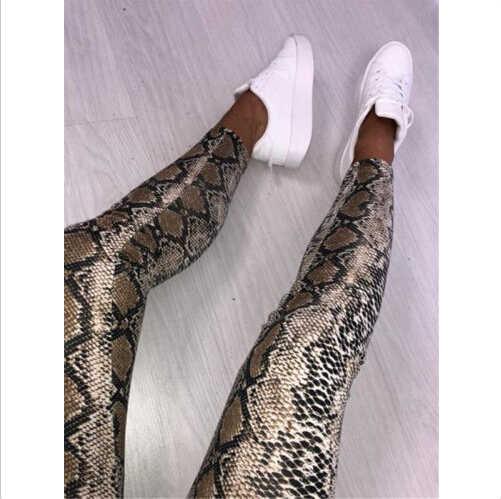 Hot 2019 Fashion Vrouwen Hoge Taille Broek Luipaard Slangenhuid Ontwerp Skinny Stretch Potlood Lange Slanke Broek Leggings dames Broek