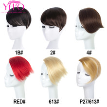 YELO Peruvian In Bangs Human Hair Extensions Remy Hair Clip 1b# 2# 4# 613# red# 27/613# Clip On Bangs Hair Topper(China)
