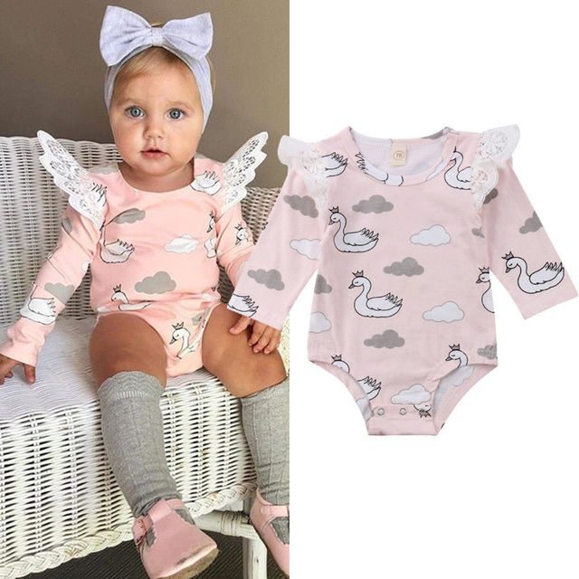 3ca8764f1108 Pudcoco UK Newborn Baby Girl Clothes carters Sleeve Cartoon Swan Lace  Bodysuit Jumpsuit Outfits Clothes
