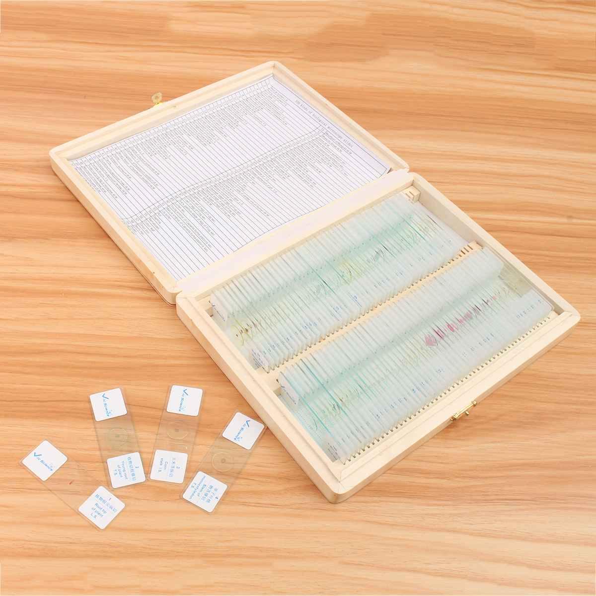 100 Pcs/set Mikroskop Glas Rutschen Probe Glas Vorbereitet Grundlegende Wissenschaft Biologischen Probe Abdeckung Rutscht Holz Lagerung Box Tragbare üBerlegene (In) QualitäT