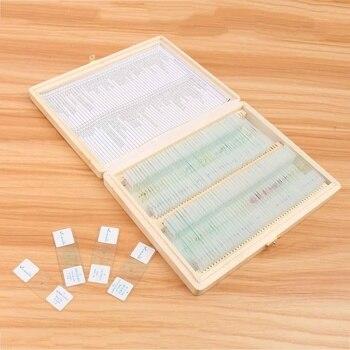 100 Pcs/Set Mikroskop Glas Rutschen Probe Glas Vorbereitet Grundlegende Wissenschaft Biologischen Probe Abdeckung Rutscht Holz Lagerung Box Tragbare