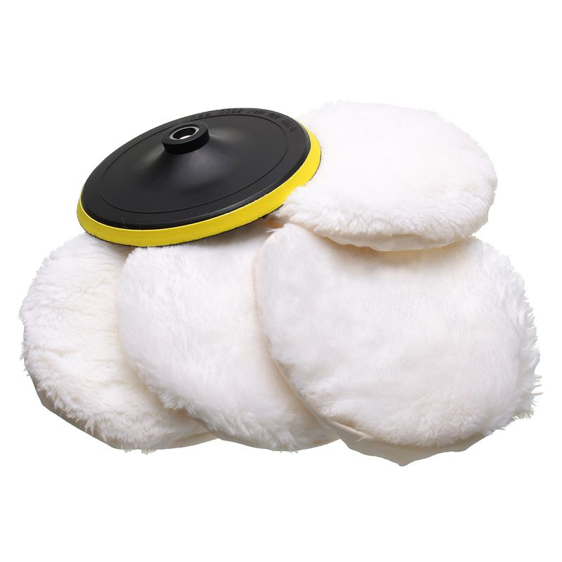 5Pcs Polisher/Buffer Kit Soft Artificial Wool Bonnet Pad White:4 Inch