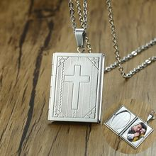 Open Cross Bible Locket Pendant Necklace for Men Stainless Steel Romantic Memory Photo Picture Locket Lover Gift with 24inch(China)