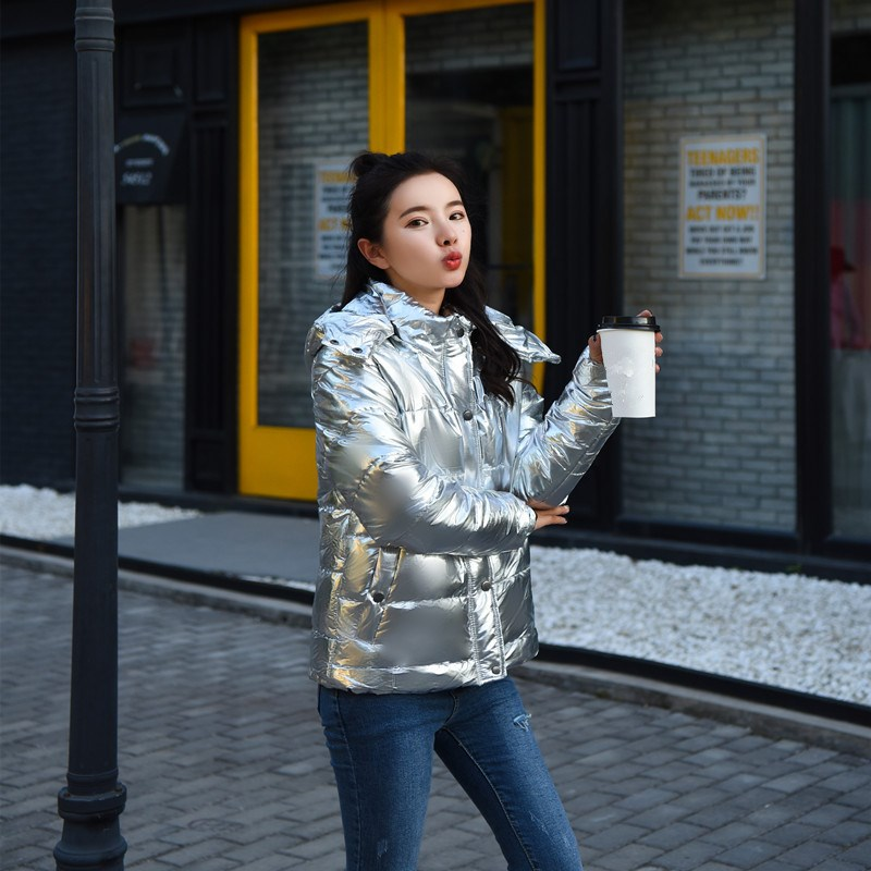 Hooded Silver Fashion Large Coat Women Coats Winter 2018 Warm Parka silver New Casual Size Short Gold Loose Thicken Outerwear 6xpqt