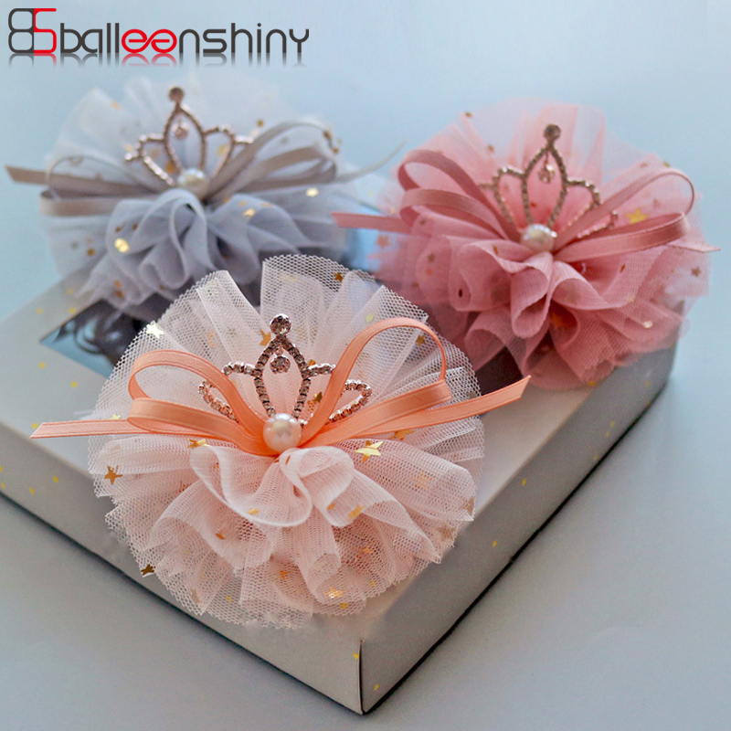 BalleenShiny Shiny Crown Hairpin Lace Glitter Star Baby Girls Princess Headwear Hair Clip Children Kids Beauty Headdress Gift