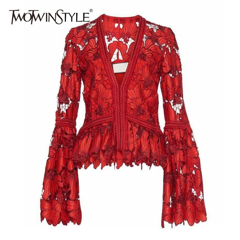 TWOTWINSTYLE Elegant Women s Shirt Blouse V Neck Flare Long Sleeve Hollow Out Red Tops Female