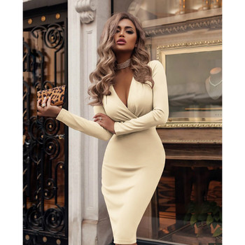 2019 Plus Size Women Bandage Bodycon Dress Office Lady OL Clothes Summer Long Sleeve V Neck Sexy Party Cocktail Short Dress 1