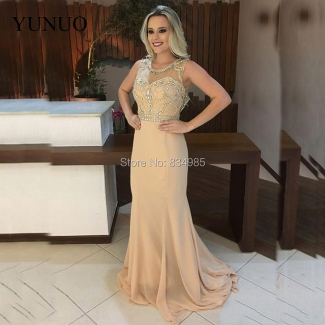 5e4ff9a345b9 Champagne Long Evening Dresses Scoop Neck Sleeveless Beads Chiffon Sexy  Open Back Luxurious Mermaid Prom Gowns