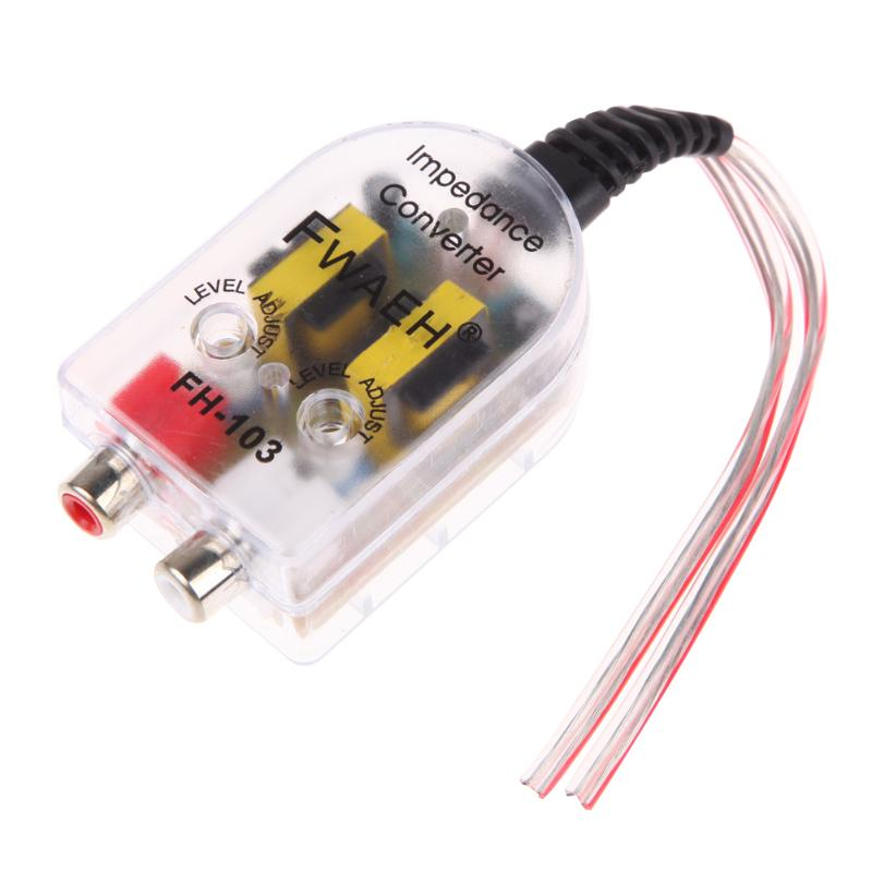 12V Universal Car Stero Radio Speaker High To Low RCA Line Audio Impedance Car Impedance Converter Free Drop Converter