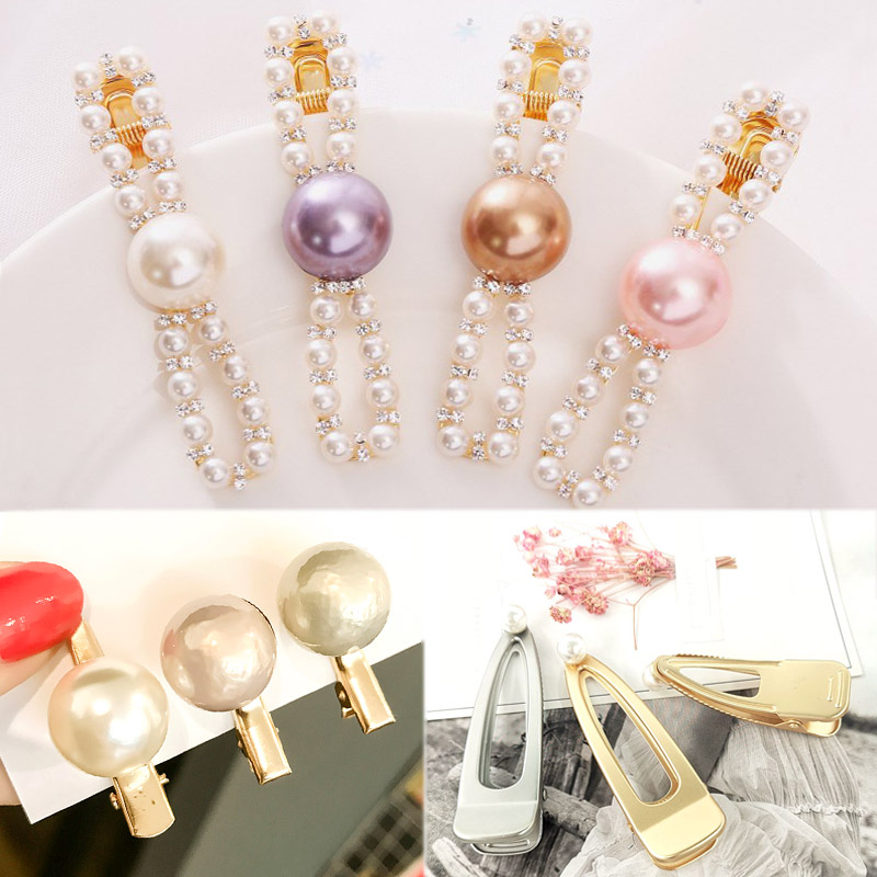 Girls Imitation Pearl 1PC Hollow Out Alloy Hair Accessories Sweet Women Bang clip Bowknot Simple Crystal Golden Cute Hair Clips