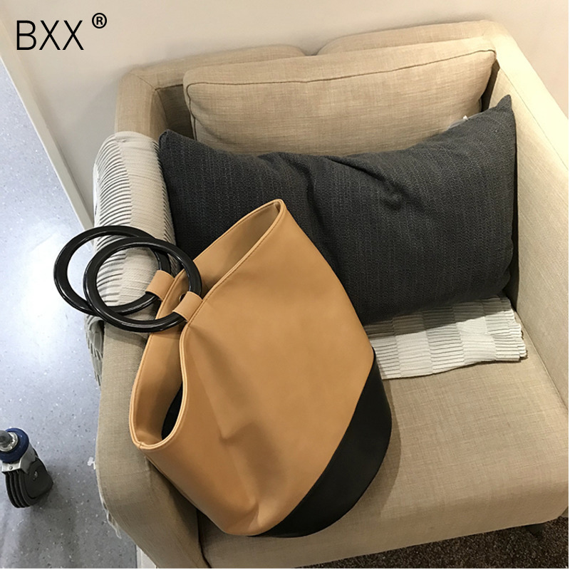 2019 Woman Stylish Brown Black Color Double Round Hoop Bucket Shape High Capacity Pu Leather Handbag All Match Lm686 Women's Bags bxx
