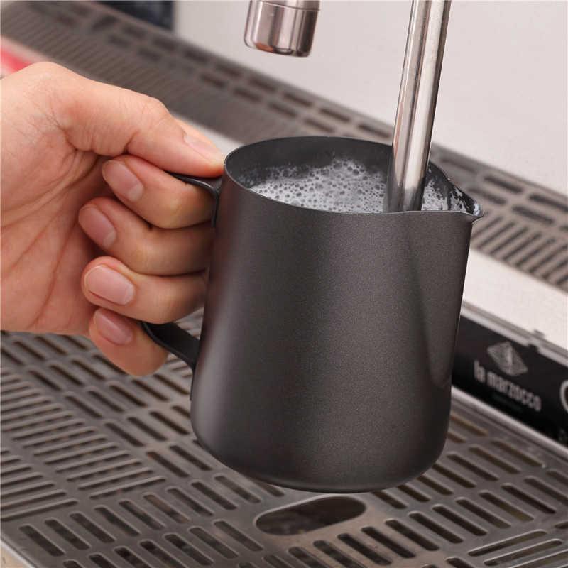 Não vara teflon aço inoxidável leite espumante jarro café espresso barista artesanato latte cappuccino creme jarro de espuma