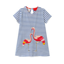 2019 Newest baby girl clothes dresses soft crane Appliques Blue Striped baby girl dress 2-7T Baby girl Sundress robe bebe fille