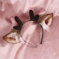 Новый рога палевый уха Головные уборы Девушка аксессуары для волос повязка для женщин scrunchie с рогами оленя волос луки ручной работы