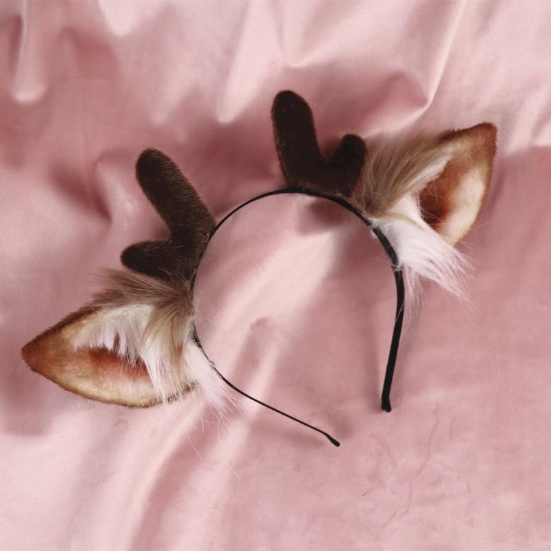 New Antler Fawn Ear Headwear  Girl Hair Accessories Hairband For Women Scrunchie Deer Ears Hair Bows Hand Work