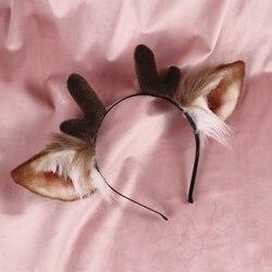Nieuwe Gewei Fawn Oor Hoofddeksels meisje haar accessoires haarband voor vrouwen chouchou herten oren haarelastiekjes Hand Werk