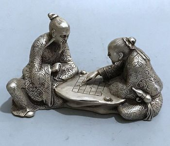 Chinese Antique Brass Carving Ornaments Saints Playing Chess home decoration