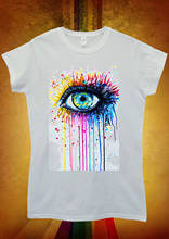 Rainbow Eye Art Drawing Hipster Cool Men Women Unisex T Shirt Vest 625Cartoon t shirt Unisex t free shipping funny tops(China)